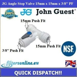 "JG Angle Stop Valve 15mm x 15mm x 3/8"" PF Reverse Osmosis Water Tube Adaptor"
