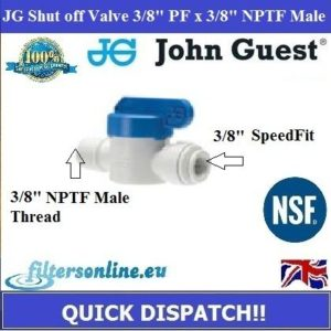 "JG Shut Off Valve 3/8"" PF x 3/8"" NPTF Male Thread Water Connector Medical"