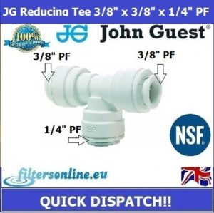 "JG Reducing Tee Connector 3/8"" x 3/8"" x 1/4"" PF John Guest WaterTube Fitting"