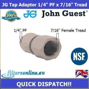 "JG Tap Adaptor Connector 1/4"" PF x 7/16"" BSP Female John Guest Tube Fitting"