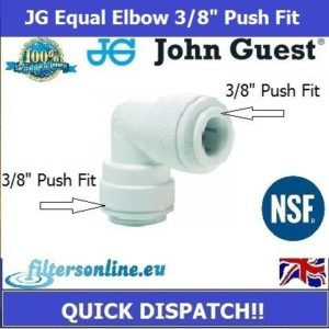 "JG Equal Elbow Connector 3/8"" PF x 3/8"" Elbow John Guest Tube Fitting Speed Fit"