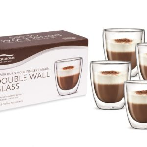 Aqualogis Cappuccino Glasses 300ml – Pack of 4